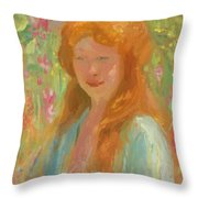 Portrait Of A Young Women In Garden 1912 Throw Pillow