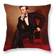 Portrait Of Abraham Lincoln Throw Pillow by George Peter Alexander Healy