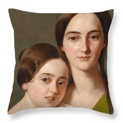 Portrait Of Alexandrine Pazzani And Her Cousin Caroline Von Saar According To Family Tradition Throw Pillow