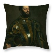 Portrait Of Alfonso D'avalon -  Marquis Of Vasto - In Armor With A Page Throw Pillow