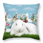 Portrait Of An Albino Lop Throw Pillow