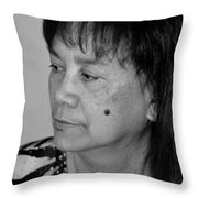 Portrait Of An Attractive Filipina Woman With A Mole On Her Cheek Throw Pillow
