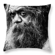 Portrait Of An Australian Aborigine Throw Pillow by Avalon Fine Art Photography