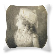 Portrait Of An Elegant Lady In Profile, Wearing A Hat Throw Pillow