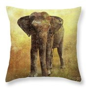Portrait Of An Elephant Digital Painting With Detailed Texture Throw Pillow