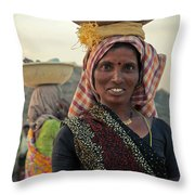Portrait Of An Indian Lady Throw Pillow