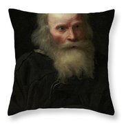 Portrait Of An Old Man Begging By Michael Sweerts Throw Pillow
