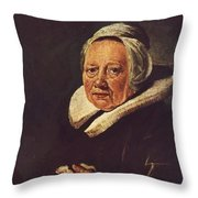 Portrait Of An Old Woman 1645 Throw Pillow