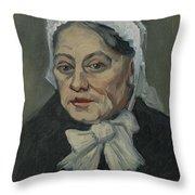 Portrait Of An Old Woman Antwerp December 1885 Vincent Van Gogh 1853  1890 Throw Pillow