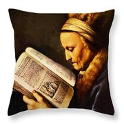 Portrait Of An Old Woman Reading Throw Pillow