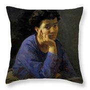 Portrait Of An Unknown Woman In A Blue Blouse Throw Pillow