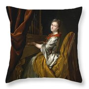 Portrait Of Barbara Janssens At The Organ Throw Pillow