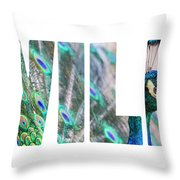 Portrait Of Beautiful Peacock With Open Tail Throw Pillow