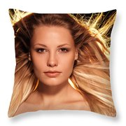 Portrait Of Beautiful Woman Face With Glowing Golden Blond Hair Throw Pillow