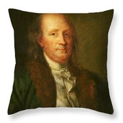 Portrait Of Benjamin Franklin Throw Pillow
