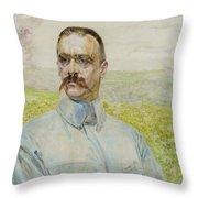Portrait Of Brigadier Jozef Pilsudski Throw Pillow