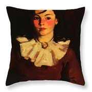 Portrait Of Cara In A Red Dress Throw Pillow