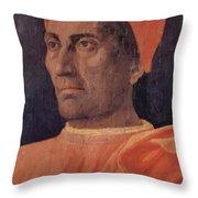 Portrait Of Cardinal Carlo De Medici 1466 Throw Pillow