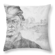 Portrait Of Caspar Tower And A River Landscape 1520 Throw Pillow