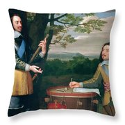 Portrait Of Charles I And Sir Edward Walker Throw Pillow