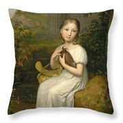 Portrait Of Countess Louise Bose As A Child Throw Pillow