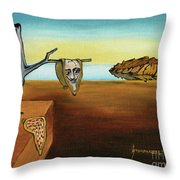 Portrait Of Dali The Persistence Of Memory Throw Pillow