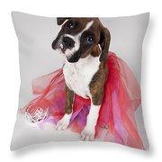 Portrait Of Dog Wearing Tutu Throw Pillow