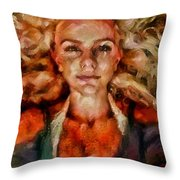 Portrait Of Female With Hair Billowing Everywhere In Radiant Unsmiling Sharp Features Golden Warm Colors And Upturned Nose Curls And Aliens Of The Departure Throw Pillow
