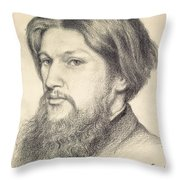 Portrait Of Ford Madox Brown Throw Pillow