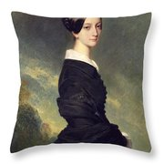 Portrait Of Francisca Caroline De Braganca Throw Pillow by Franz Xaver Winterhalter