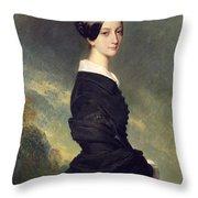 Portrait Of Francisca Caroline De Braganca Throw Pillow by Franz Xaver Winterhalter