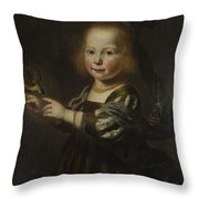 Portrait Of Geertruyt Spiegel With A Finch Throw Pillow