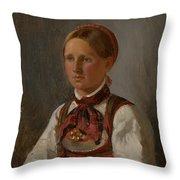 Portrait Of Gunild Olsdatter From Tinn Throw Pillow