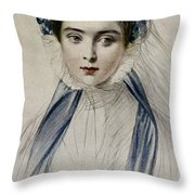 Portrait Of Her Majesty Queen Victoria As A Young Woman By Emile Desmaisons Throw Pillow