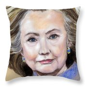 Pastel Portrait Of Hillary Clinton Throw Pillow