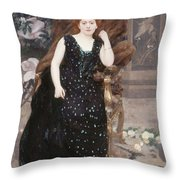 Portrait Of Jane Hading , Alfred Roll Throw Pillow