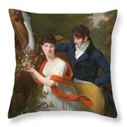 Portrait Of Jean-louis Gustave D'hautefort And His Sister Marie-therese-thais D'hautefort Throw Pillow