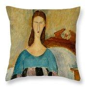 Portrait Of Jeanne Hebuterne Throw Pillow by Amedeo Modigliani