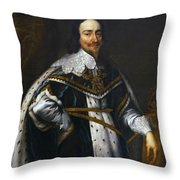Portrait Of King Charles I After Van Dyck Throw Pillow