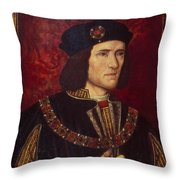 Portrait Of King Richard IIi Throw Pillow by English School