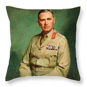 Portrait Of Lieutenant - General The Honorable Sir Edmund Herring Throw Pillow