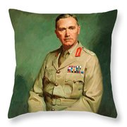 Portrait Of Lieutenant - General The Honorable Sir Edmund Herring Throw Pillow