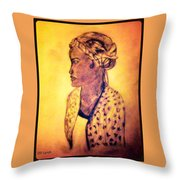 Portrait Of Lovely African Woman Throw Pillow