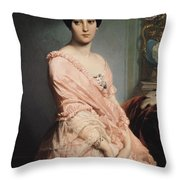 Portrait Of Madame F Throw Pillow by Edouard Louis Dubufe