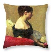 Portrait Of Madame Maitre Throw Pillow by Ignace Henri Jean Fantin Latour
