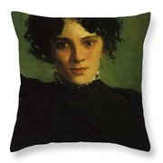 Portrait Of Maria Gabayeva Throw Pillow