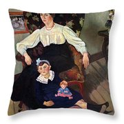 Portrait Of Marie Coca And Her Daughter Throw Pillow by Marie Clementine Valadon