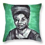 Portrait Of Maya Angelou Throw Pillow