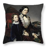 Portrait Of Mother And Son Throw Pillow