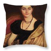 Portrait Of Mrs Devauay Throw Pillow